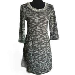 JACOB Dress Black White Midi Beaded 3/4 Sleeves